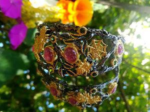 Скидка 20% на браслет с паучками и рубинами!. Ярмарка Мастеров - ручная работа, handmade.