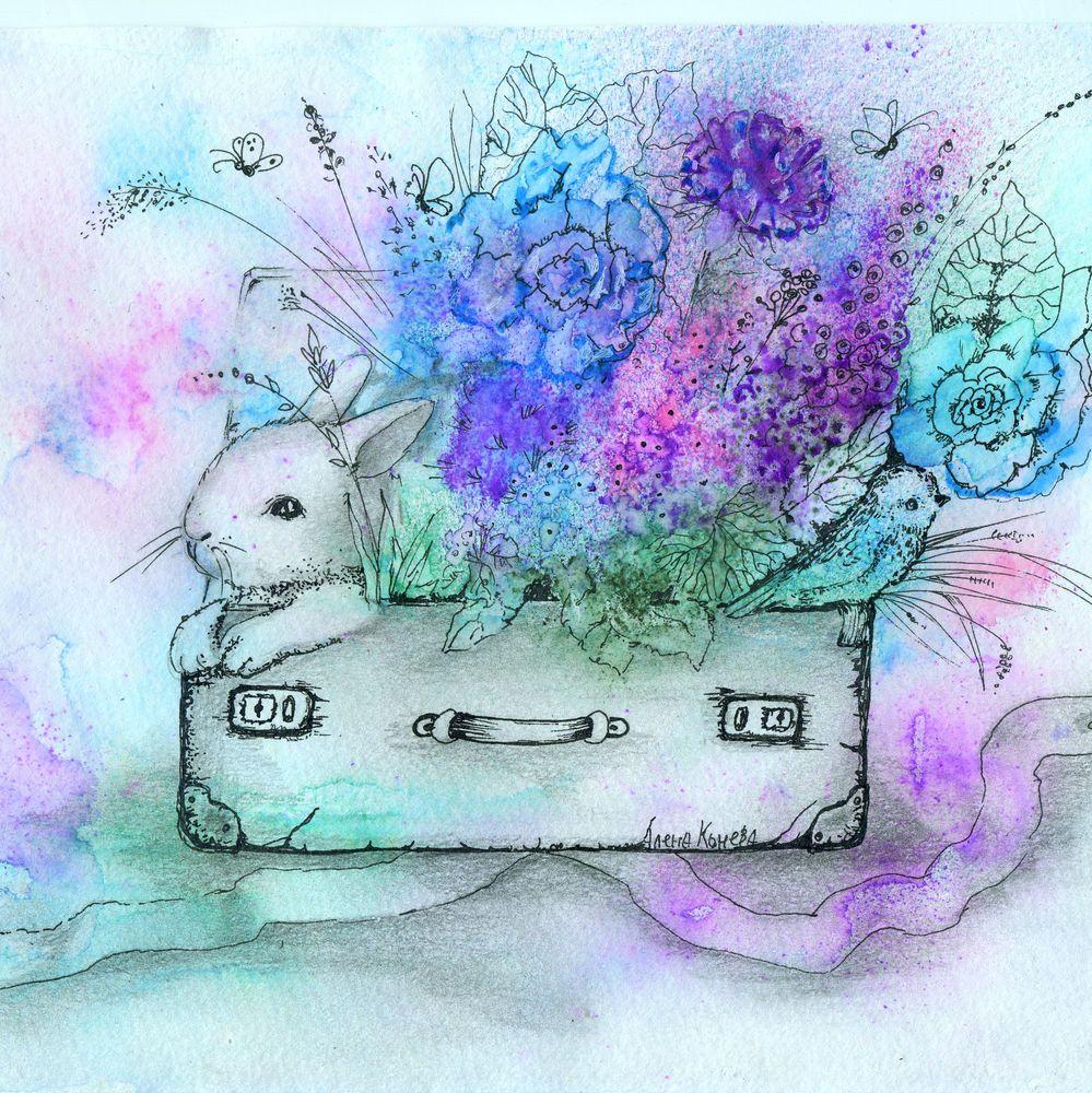 сказка в теплоте рук, цветы, зайчонок, лето, катрины для детской
