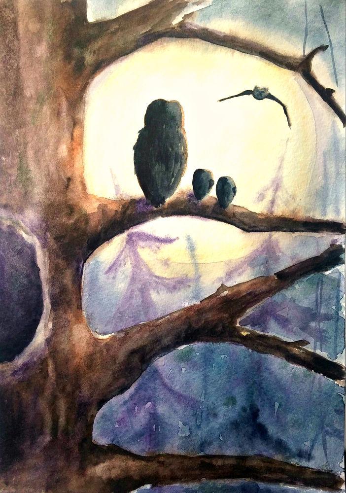 рисуем с детьми, совы