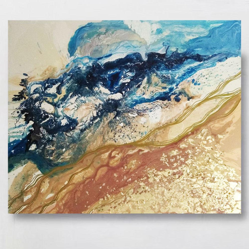 сине бежевая картина, большая картина интерьер