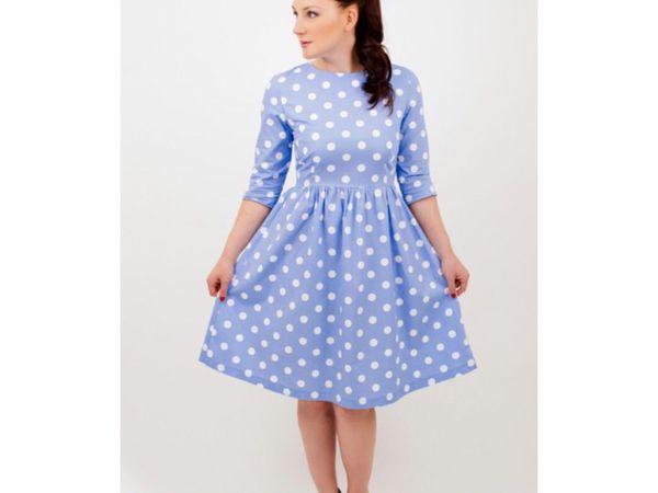 Sky blue polka dot dress за 3800 рублей! | Ярмарка Мастеров - ручная работа, handmade