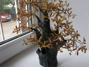 Осенний дуб. Создаем дерево из бисера с полноценными листочками. Ярмарка Мастеров - ручная работа, handmade.