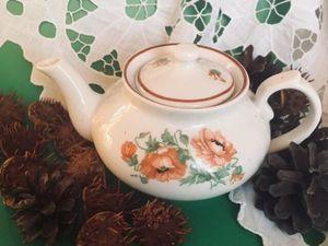 """Малененький чайник- эгоист """" Маки"""" 1946г. Рига. Редкость!!. Ярмарка Мастеров - ручная работа, handmade."""