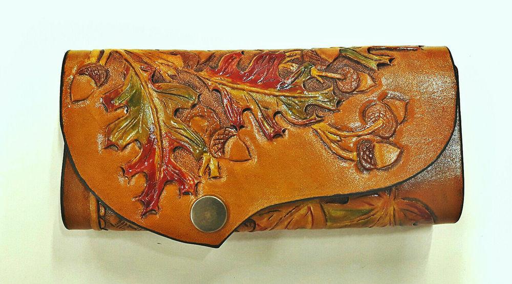 кожа, кошелёк, художественная обработка, работа с кожей, кожа натуральная