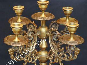Подсвечник антикварный бронза латунь Франция 49   Ярмарка Мастеров - ручная работа, handmade
