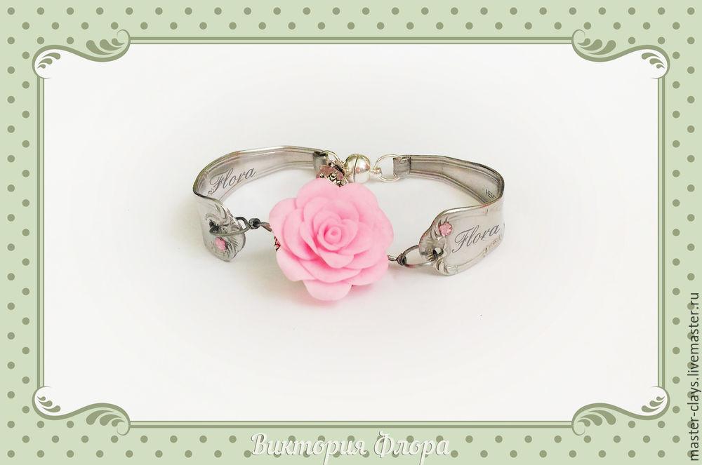 браслет из ложек, розовая роза
