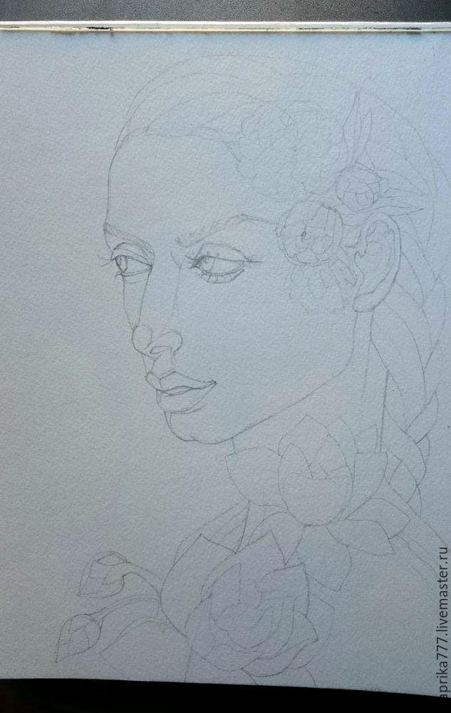 акварель, портрет по фото, картина с цветами
