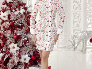 Аукцион на Платье — футляр с зимним атмосферным принтом! Старт 2500 руб.!. Ярмарка Мастеров - ручная работа, handmade.