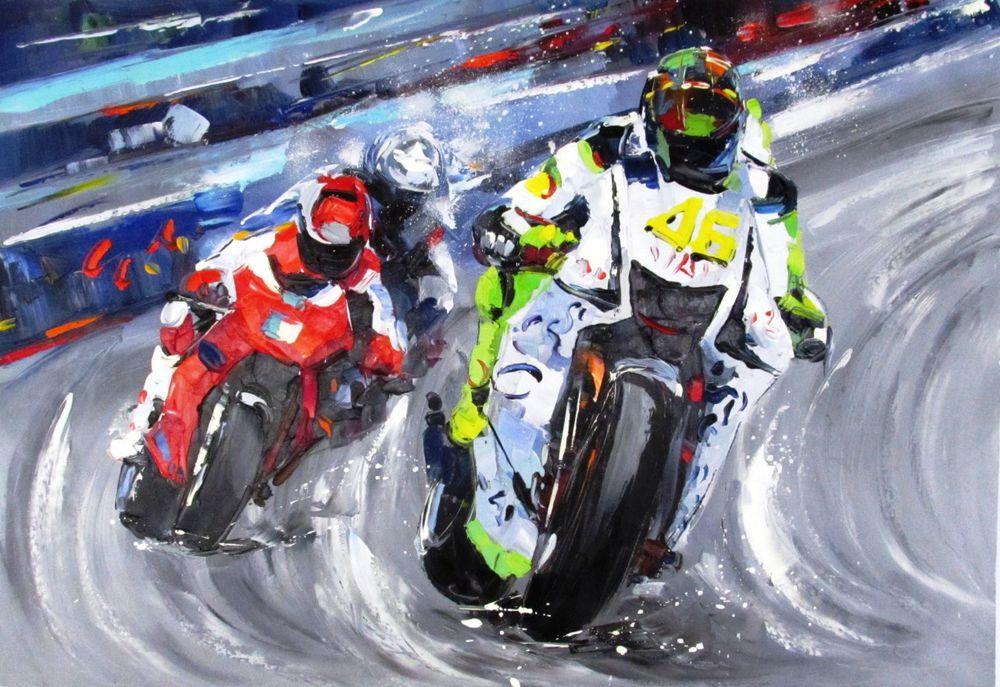 скидки, акция выходного дня, мотоциклы, картина маслом