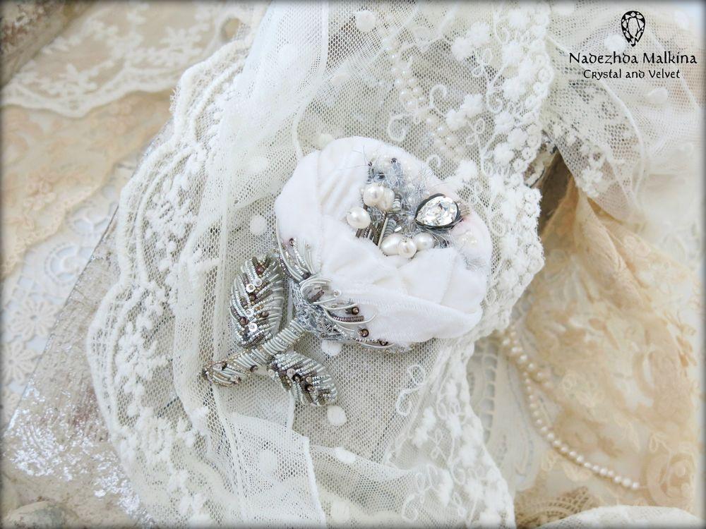 брошь-цветок, винтажная свадьба