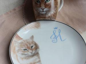 Котик, надглазурная роспись кружки и тарелки. Ярмарка Мастеров - ручная работа, handmade.