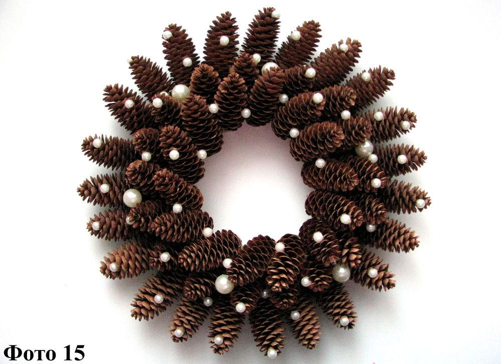 Мастерим Рождественский венок из еловых шишек, фото № 16