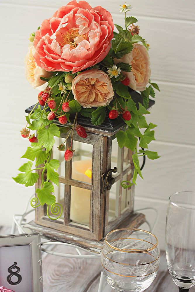 полимерная флористика, подсвечник, свечи, розы, фонарик, новости магазина