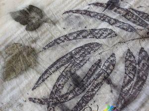 """Новинка! Палантин """"Осенний каприз"""" — кашемир, экопринт. Ярмарка Мастеров - ручная работа, handmade."""