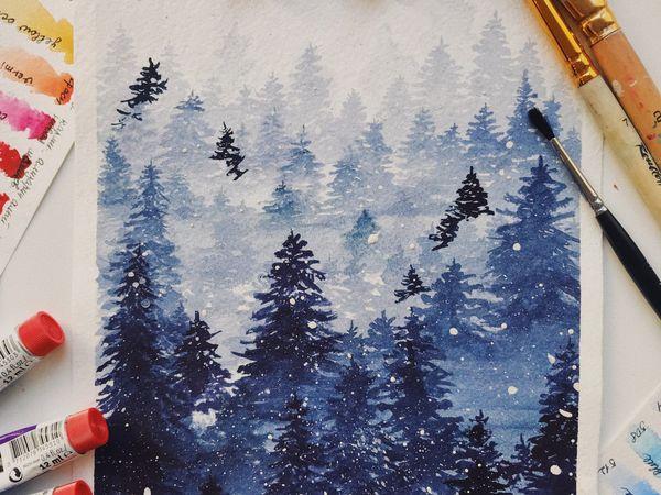 Новогодние иллюстрации (Акварельная Зима) | Ярмарка Мастеров - ручная работа, handmade