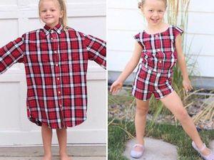 Креативная мама делает одежду для своей дочки из старых папиных рубашек!. Ярмарка Мастеров - ручная работа, handmade.
