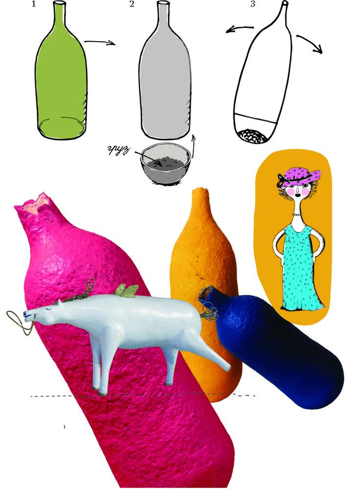 мастер-класс, папье-маше, формы, бутылки, неваляшка, мастерская, сделай сам, досуг, книга, модель