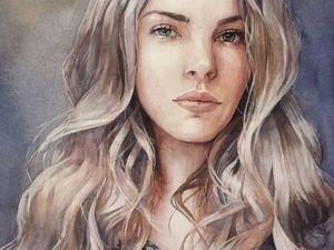 Поэтапный портрет девушки акварелью. Ярмарка Мастеров - ручная работа, handmade.