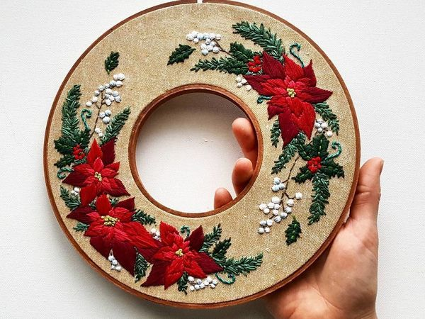 Unique Design of Double Hoop Embroidery by Jessica long | Livemaster - handmade