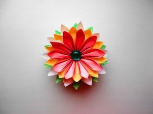 Собираем цветок из бумаги в технике оригами. Ярмарка Мастеров - ручная работа, handmade.