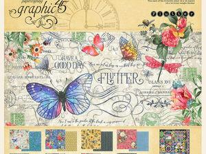 Набор бумаги Graphic 45 Flutter- 30х30 см 8 листов. Ярмарка Мастеров - ручная работа, handmade.