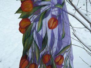 """Мастер-класс Светланы Фоминой """"Нуно-шарф в технике шерстяной акварели"""". Ярмарка Мастеров - ручная работа, handmade."""