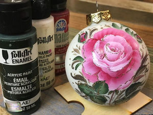 """Double Stroke or One Stroke Painting on a """"Rose"""" Christmas Ball. Livemaster - handmade"""