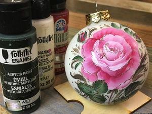 Роспись двойным мазком или One stroke на елочном шаре «Роза». Ярмарка Мастеров - ручная работа, handmade.