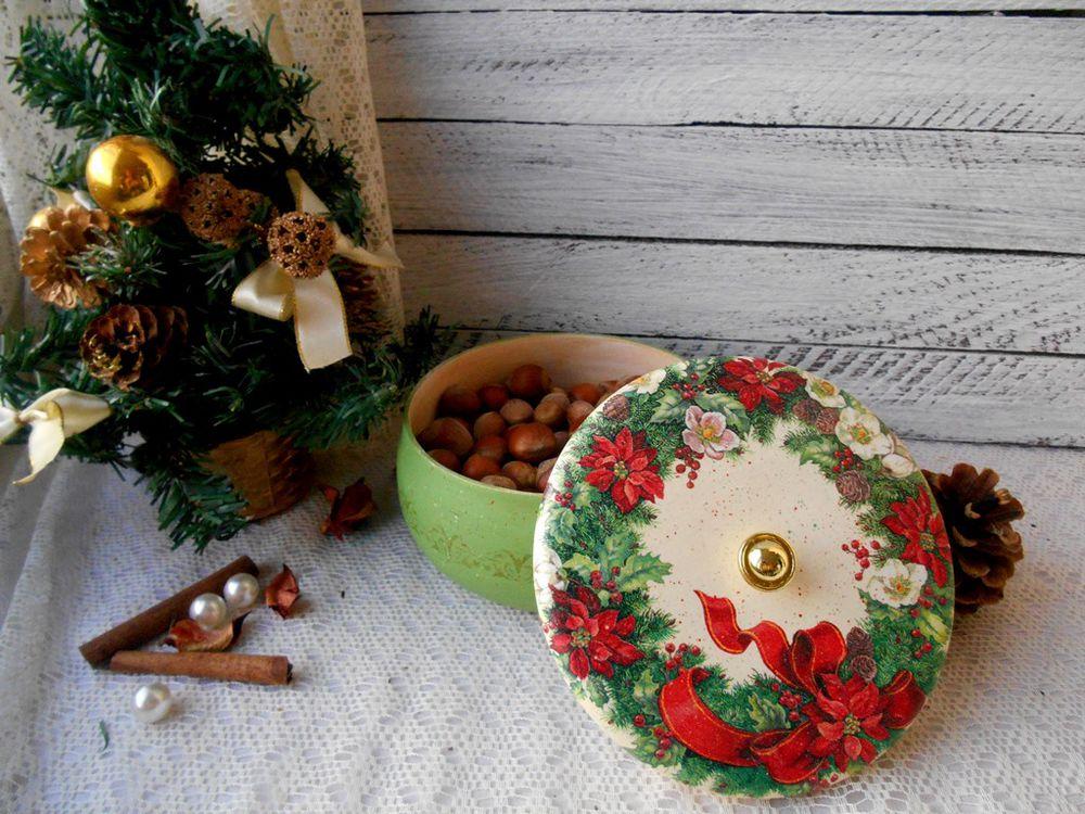 рождественский венок, декупаж, венок адвенты, новый год, рождество, подарки к новому году, подарки к рождеству