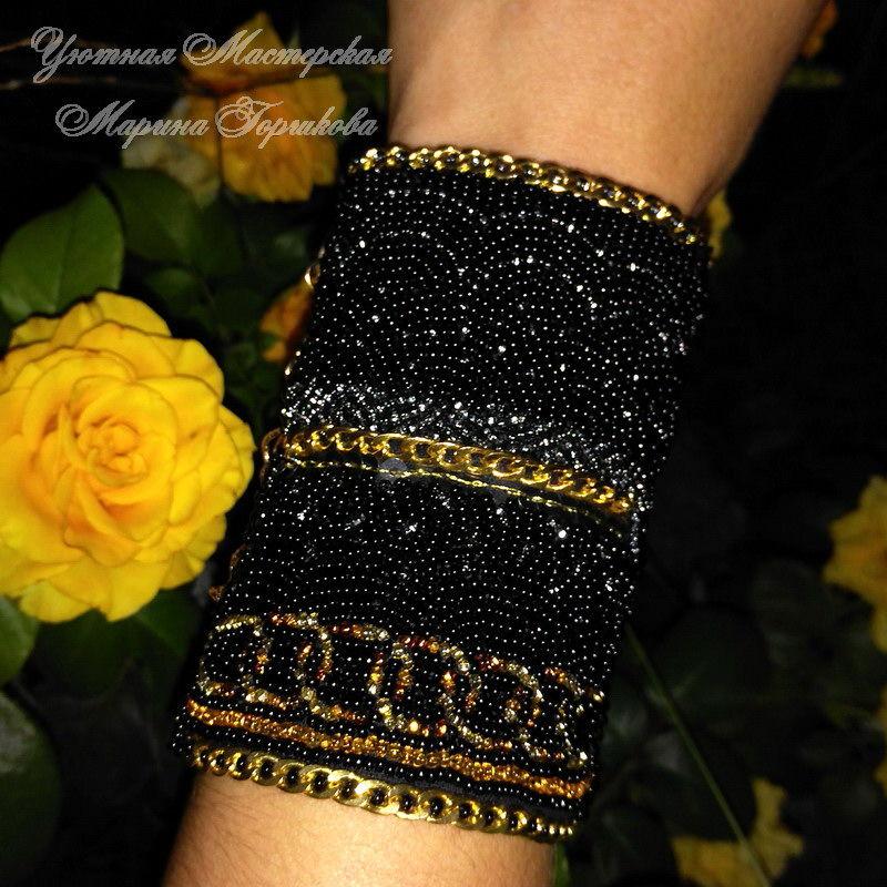 вышитый браслет, черный золотой, вышитые украшения