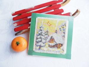 Щедрый аукцион. Тихая ночь на открытке с ручной вышивкой крестом. Ярмарка Мастеров - ручная работа, handmade.