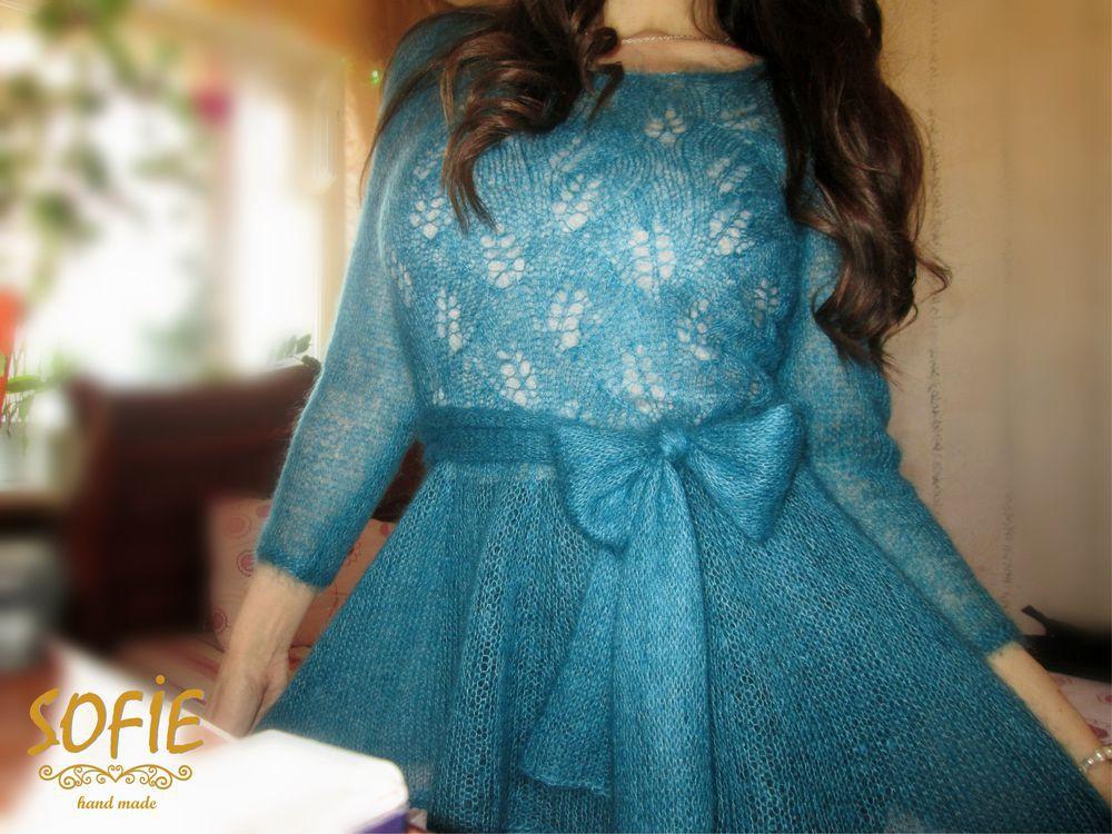 блузка из мохера, блузакидмохер, туника вязаная екб, вязаная с баской, стиль, с бантом