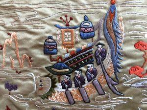 Образец китайской вышивки: панно «Гонка лодок-драконов». Ярмарка Мастеров - ручная работа, handmade.
