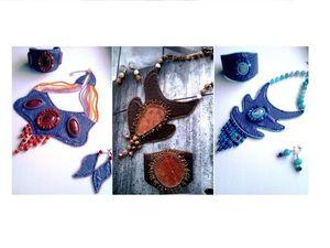 Многолотовый аукцион на вышитые бисером украшения из кожи и наруральных камней - сейчас!. Ярмарка Мастеров - ручная работа, handmade.