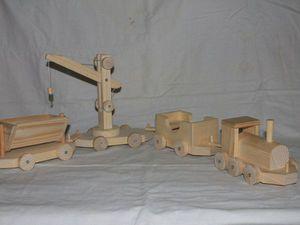 Паровоз и три вагона | Ярмарка Мастеров - ручная работа, handmade