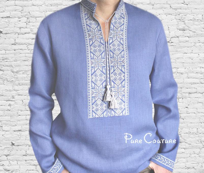 мужская одежда, авторская одежда, мужская рубаха, рубашка вышиванка, рубашка мужская, из хлопка, подарок мужчине, синий лен, красивая рубашка, натуральная одежда