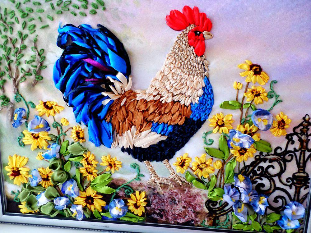 птица, петушок, цветы