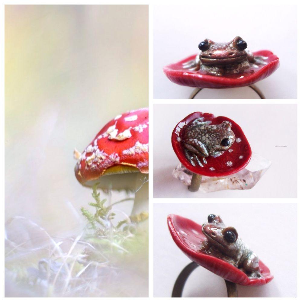 аукцион, аукцион с ноля, выгодно, акция vincento, кольцо лягушка, осеннее украшение, скульптурная миниатюра, лесное украшение, кольцо мухомор, лягушка