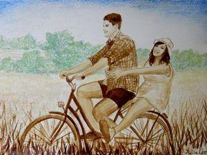 Рисуем кофейной краской и сухой пастелью счастливую пару на велопрогулке: видео мастер-класс. Ярмарка Мастеров - ручная работа, handmade.