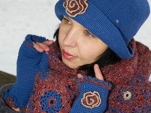 Синяя шляпка, шаль и митенки. Ярмарка Мастеров - ручная работа, handmade.