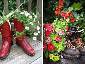 Цветочные горшки из старой обуви — оригинальное украшение для сада. Ярмарка Мастеров - ручная работа, handmade.