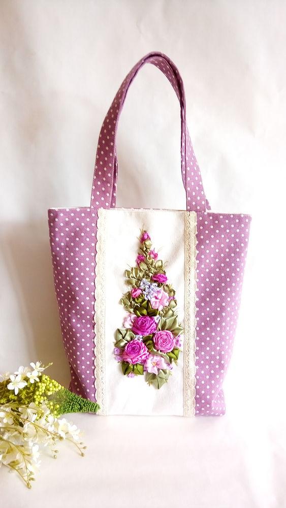 сумка, розы лентами