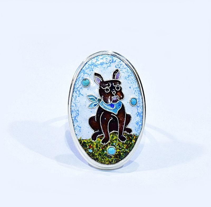 пес, кольцо с собакой, новое изделие