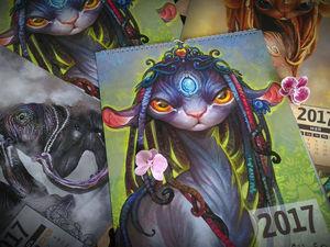 Календарь А3 на 2017 год, с инопланетными кошками.   Ярмарка Мастеров - ручная работа, handmade
