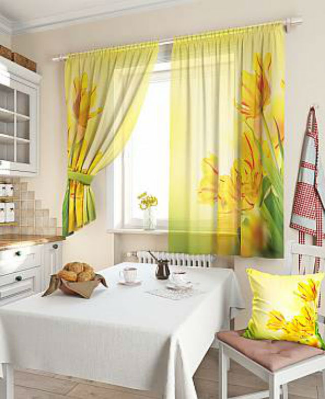 Шторы на кухню зеленого цвета