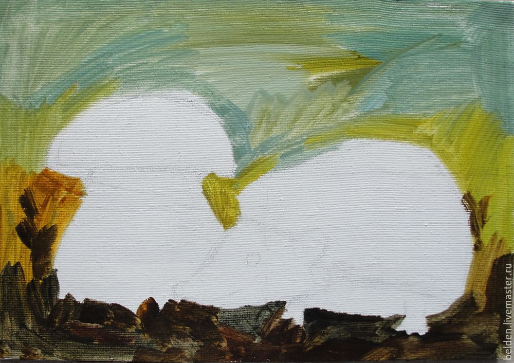 Рисуем забавного ёжика в тумане под грибом, фото № 7