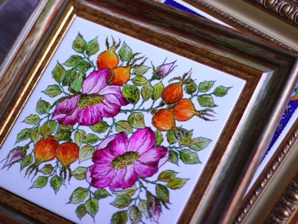 Дикая Роза. Роспись керамической плитки. | Ярмарка Мастеров - ручная работа, handmade