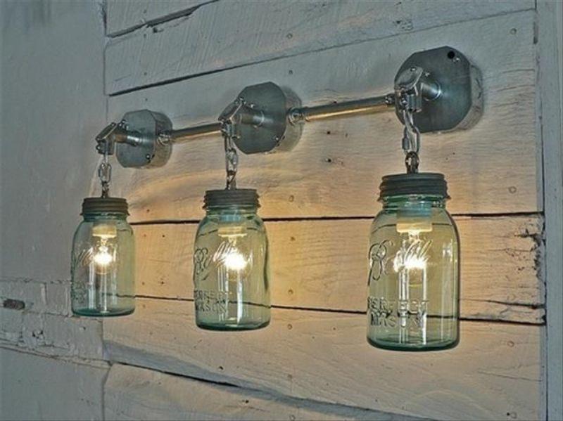 Садовый фонарь из стеклянной банки 123
