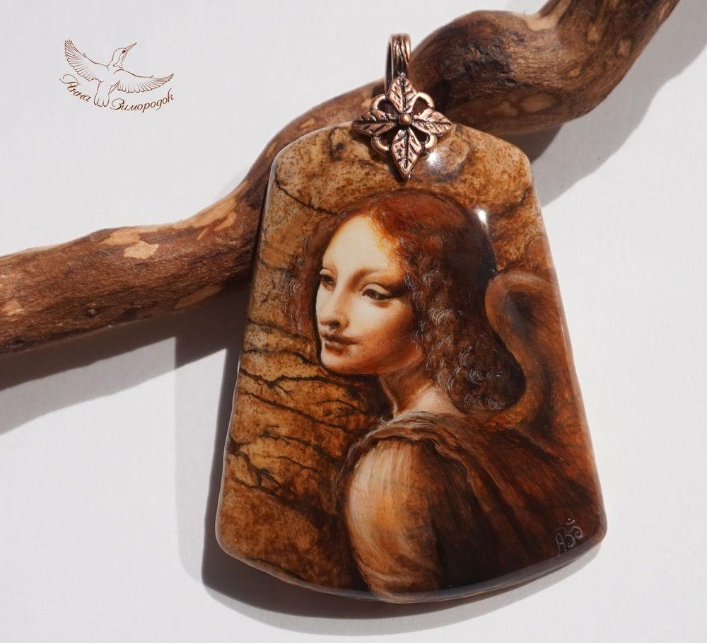 кулон, ангел леонардо да винчи, рождество, роспись по камню кулоны, лаковая миниатюра купить