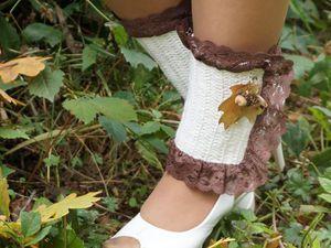 """Утепляем ножки! Вяжем кокетливые гетры """"Золото осени"""". Ярмарка Мастеров - ручная работа, handmade."""